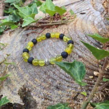 Bracelet Serpentine et pierre de lave CoVeN