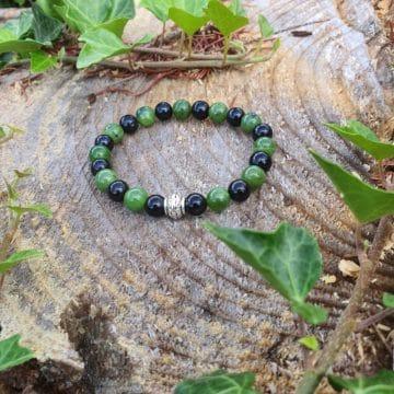 Bracelet Jade Vert et pierre de lave CoVeN