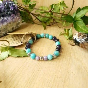 Bracelet en pierres Améthyste, Amazonite Verte et Lépidolite