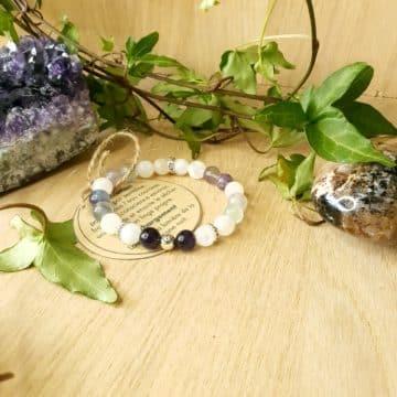 Bracelet en pierres Fluorite, Pierre de Lune et Améthyste