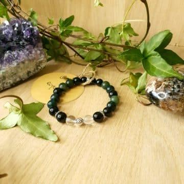 Bracelet en pierres Agate Mousse, Tourmaline Noire et Cristal de Roche